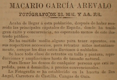 Macario García Arévalo anuncio